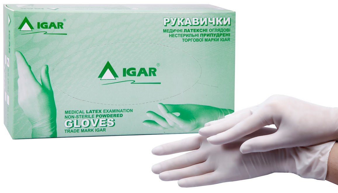 Medical latex examination non-sterile powdered gloves trade mark IGAR