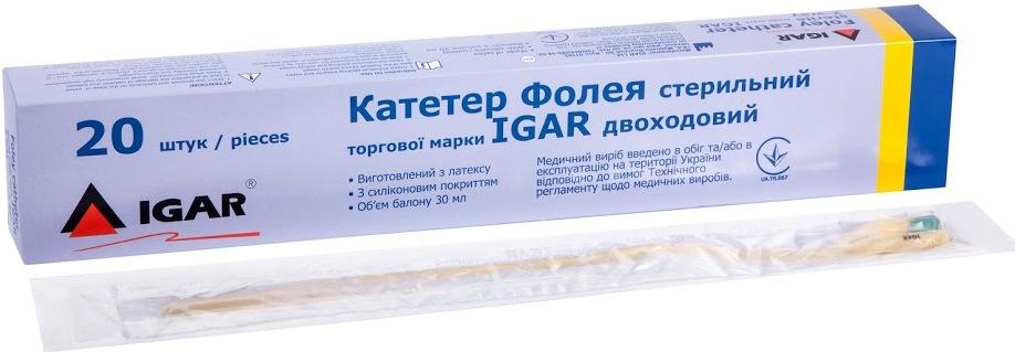 Катетер Фолея стерильный торговой марки IGAR двухходовой