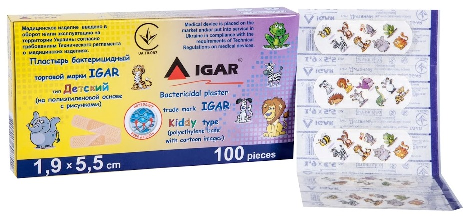 Bactericidal plaster trade mark IGAR Kiddy type (polyethylene base with cartoon images)