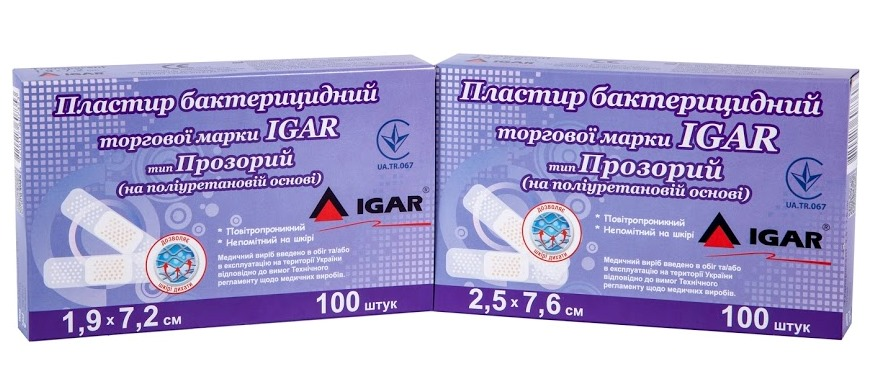 Bactericidal plaster trade mark IGAR Transparent type (polyurethane base)