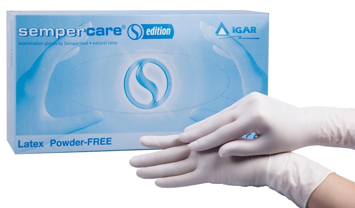 Перчатки медицинские смотровые латексные Sempercare Edition нестерильные неопудренные