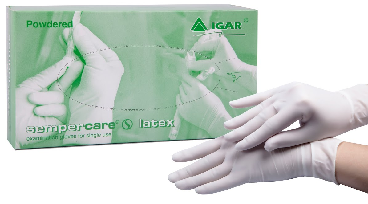 Medical examination latex gloves Sempercare non-sterile, powdered
