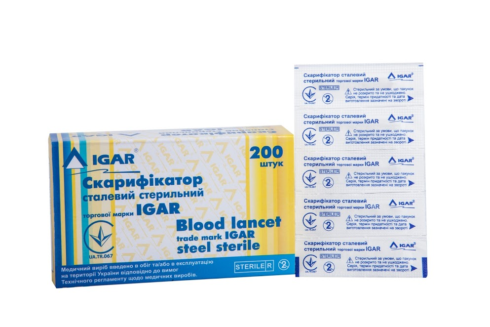 Blood lancet trade mark IGAR steel sterile