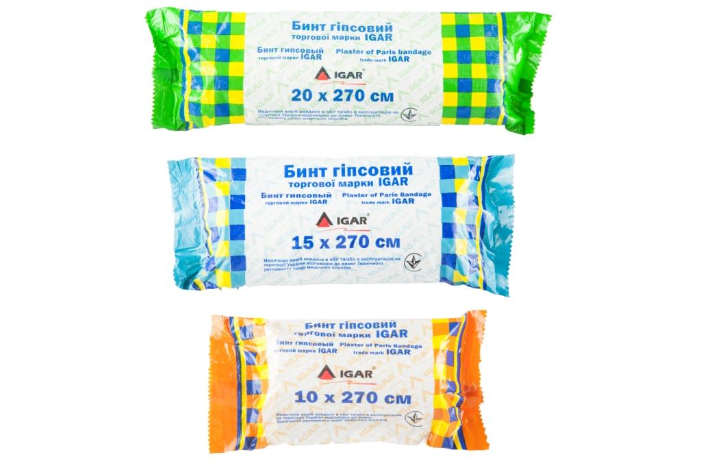 Бинты гипсовые торговой марки IGAR
