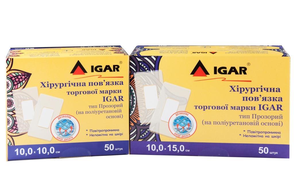 Хірургічні пов'язки торгової марки IGAR  тип Прозорий (на поліуретановій основі)