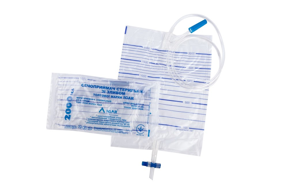 Urine bag sterile with drain trade mark IGAR