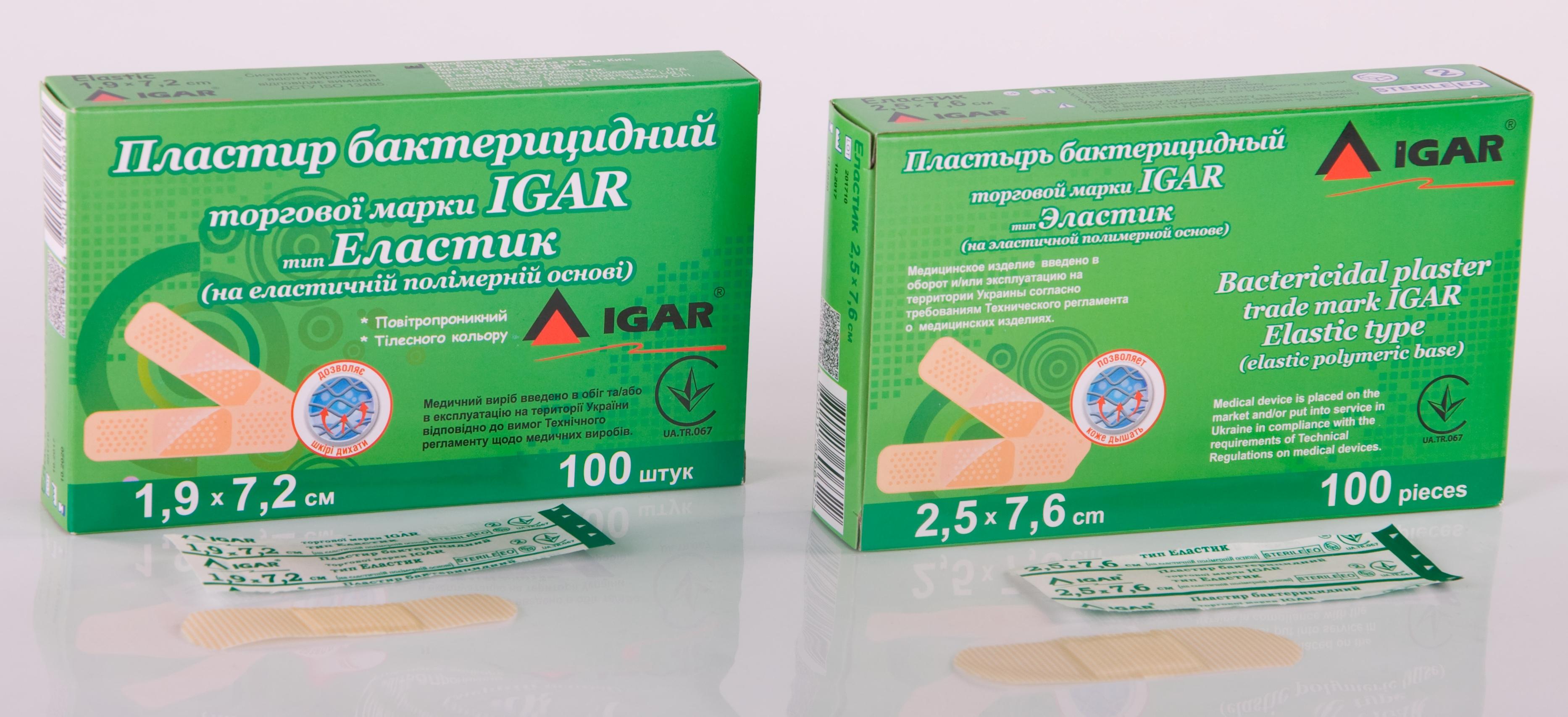 Пластир бактерицидний торгової марки IGAR тип Еластик (на еластичній полімерній основі)