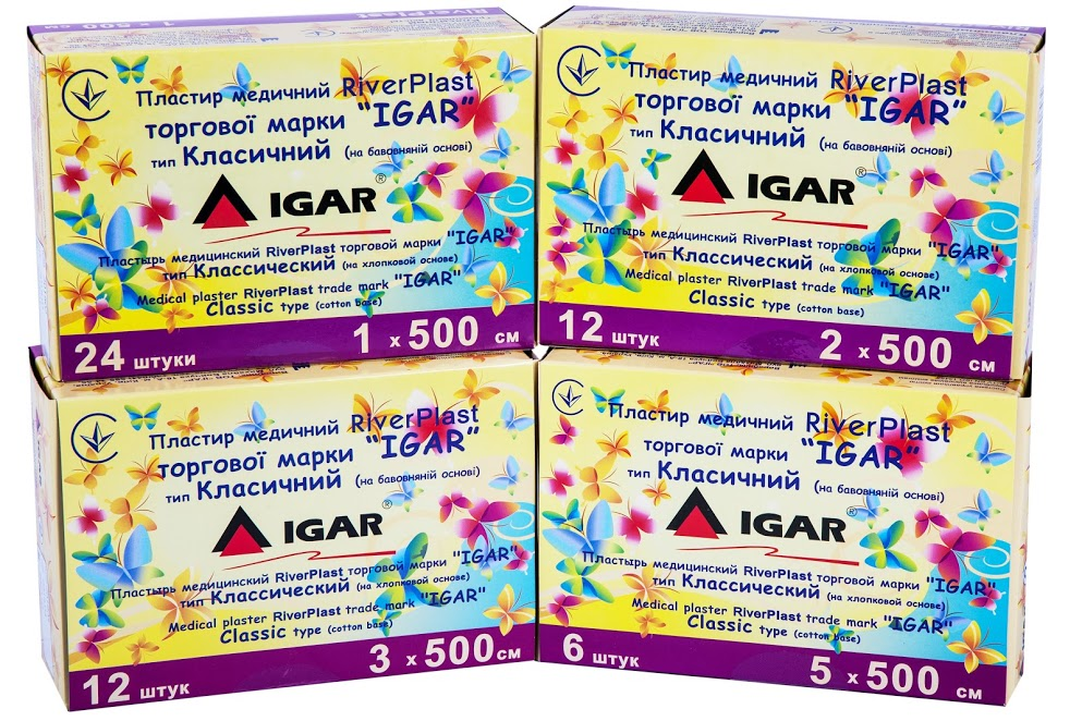 Medical plaster RiverPLAST trade mark «IGAR» Classic type (cotton base)