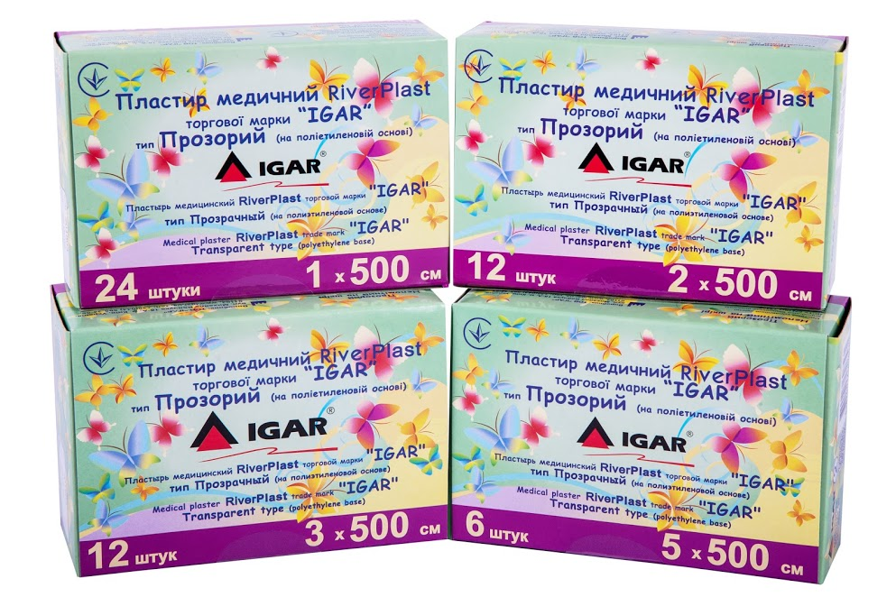 Medical plaster RiverPLAST trade mark «IGAR» Transparent type (polyethylene base)