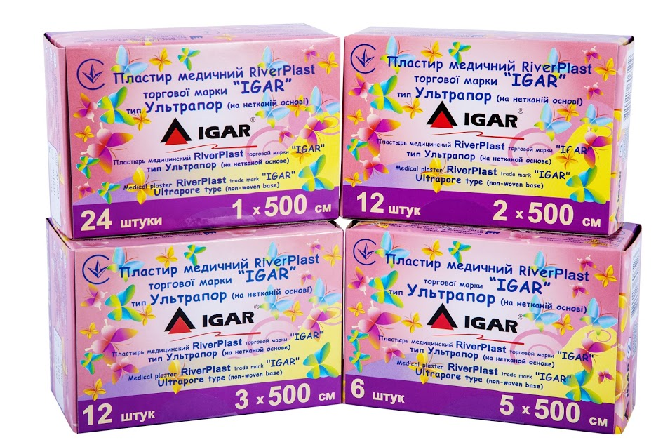 Medical plaster RiverPLAST trade mark «IGAR» Ultrapore type (non-woven base)