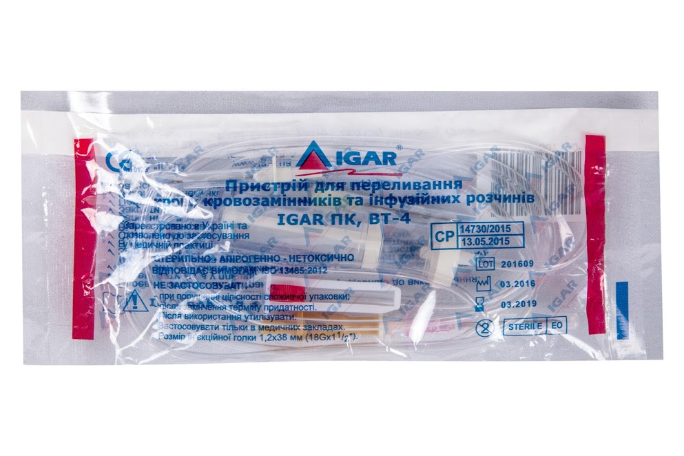 Blood, blood substitutes and solutions transfusion set BT trade mark IGAR, BT-4