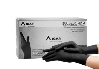 Medical nitrile examination non-sterile powder free gloves trade mark IGAR, black colour