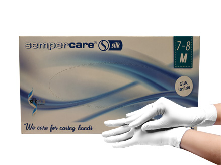 Medical examination nitrile gloves Sempercare Silk non-sterile, powder-free white colour