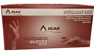 Medical latex examination non-sterile powder free gloves trade mark IGAR HIGH RISK