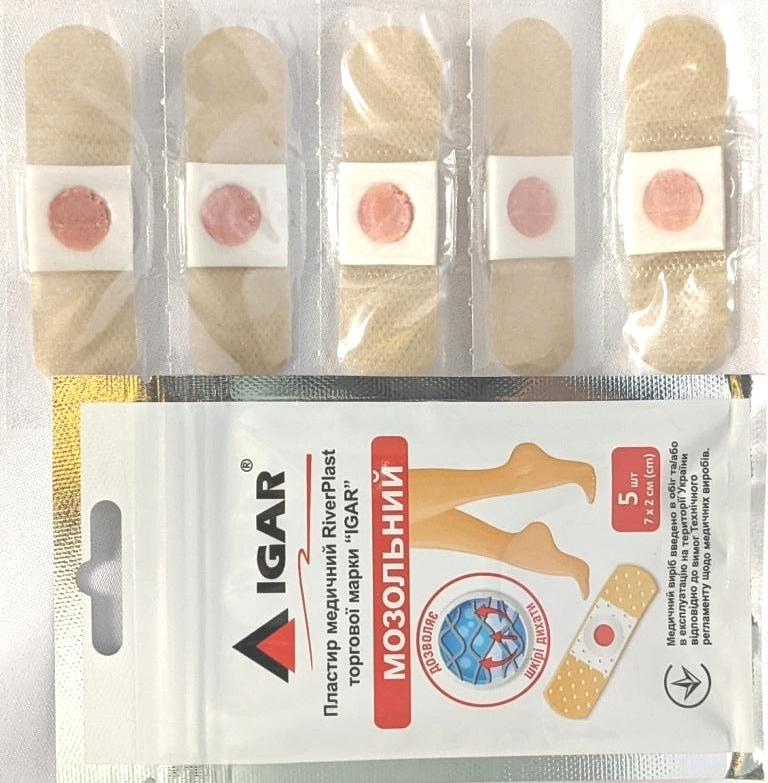 """Medical Corn Plaster RiverPlast trade mark """"IGAR"""""""